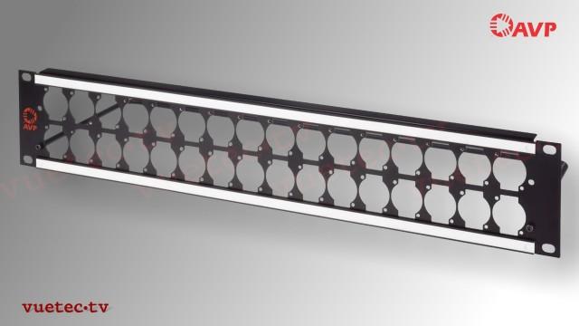 Steckfeld Rahmen 19 Zoll 2 HE mit Kabelstütze - 2x16 D-Series Ausbruch