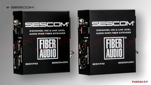 Audio over fiber, SES-FA2N, 2 Kanal analog Audio Line/Mic, symmetrisch
