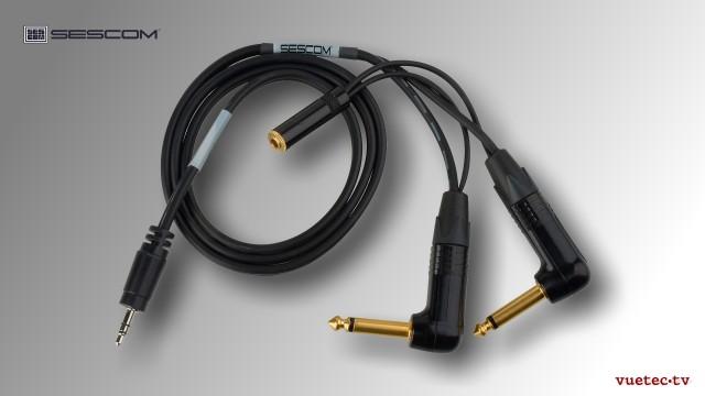 Audiokabel für BMD CinemaCamera 3,5mm Klinke stereo auf 2x 6,35 mm Klinke mono + 3,5 mm Klinkenbuchs