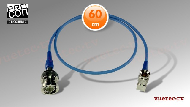 Timecode Anschlußkabel TCB89, DIN1.0/2.3 gewinkelt - BNC-M, blau