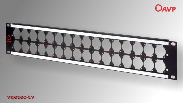 Steckfeld Rahmen 19 Zoll 2 HE - 2x16 D-Series Ausbruch