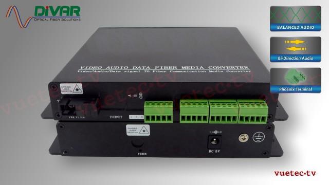 LWL4CBALBI - 4 Kanal Set, symmetrisches analog Audio bidirektional über Glasfaser