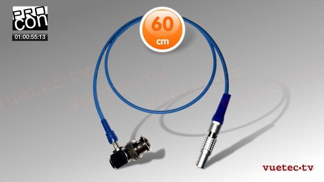 Timecode Anschlußkabel TCB95, BNC-M gewinkelt - Lemo 5pin, TC in, blau